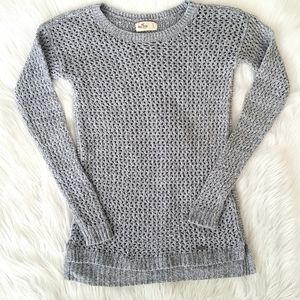 Hollister Grey Open Knit Pullover Sweater Small D